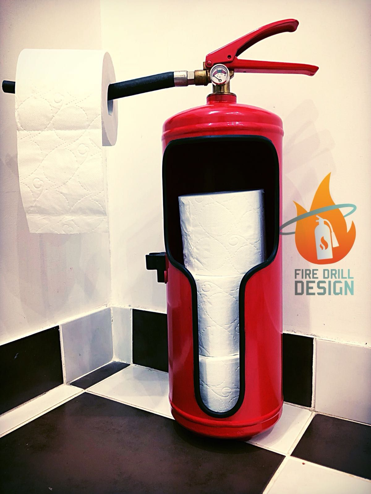 Boite A Clefs originale Stupéfiant Upcycled Fire Extinguisher toilet Paper Roll Holder