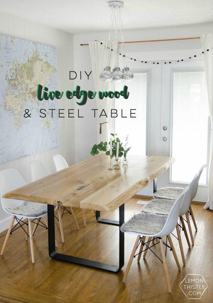 Console Extensible 14 Personnes Étonnant Salle   Manger – Diy Live Edge Table with Steel Base – Lemon