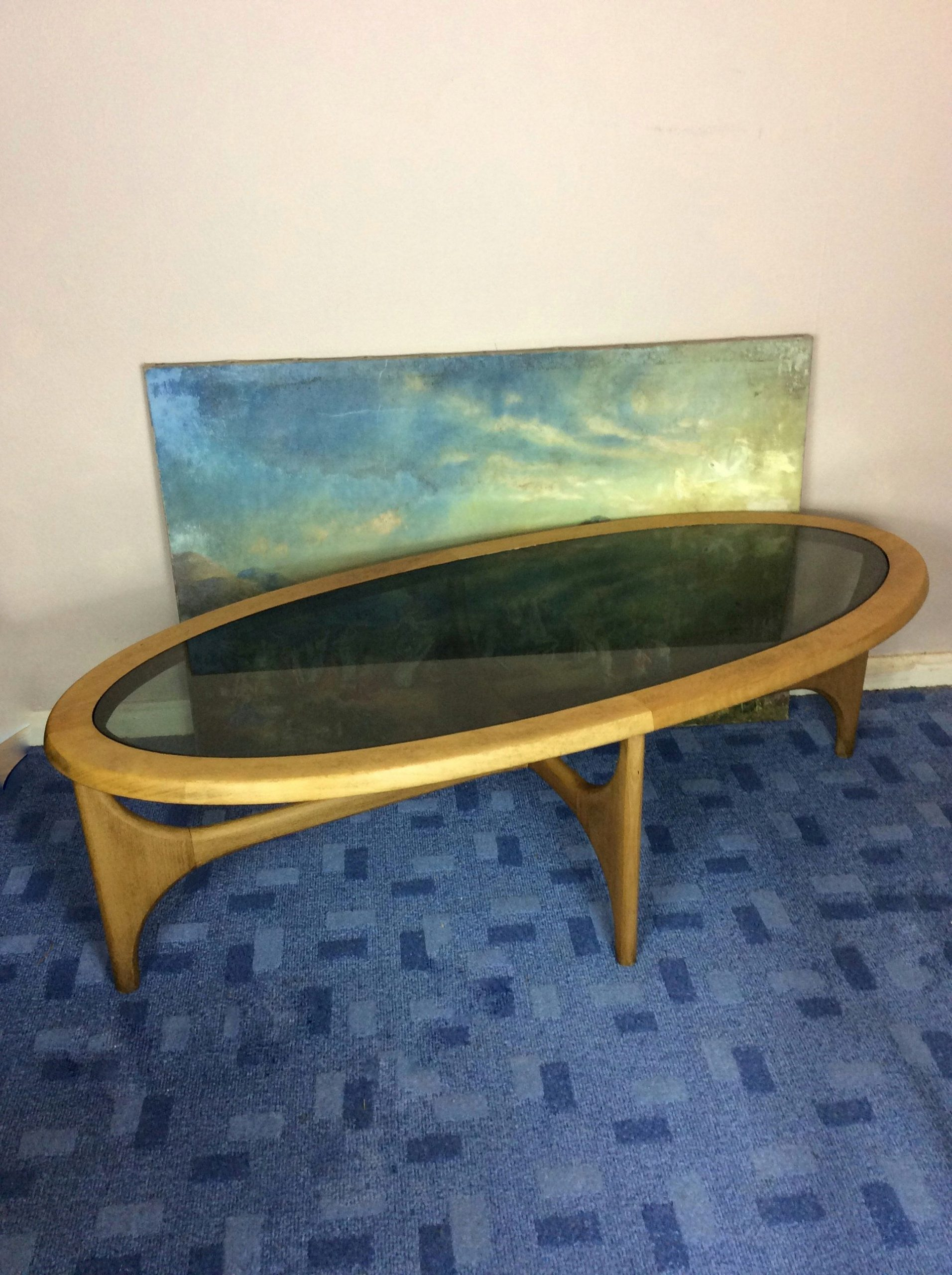 Console Extensible Teck Rare Midcentury 1960s Oval Teak and Smoked Glass Gplan Coffee