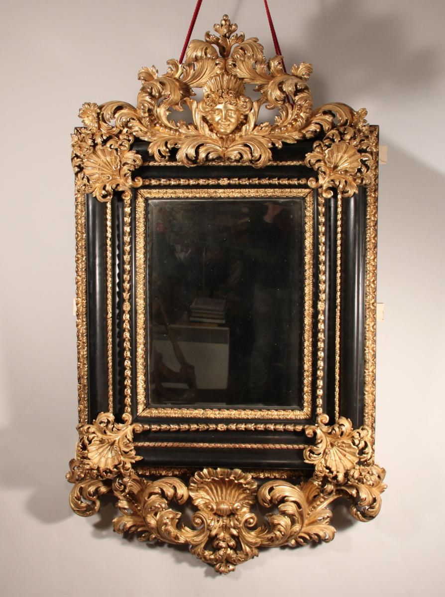 Console Miroir Archaicawful Beautiful Mirror In Carved Dark and Gilded Wood Made In