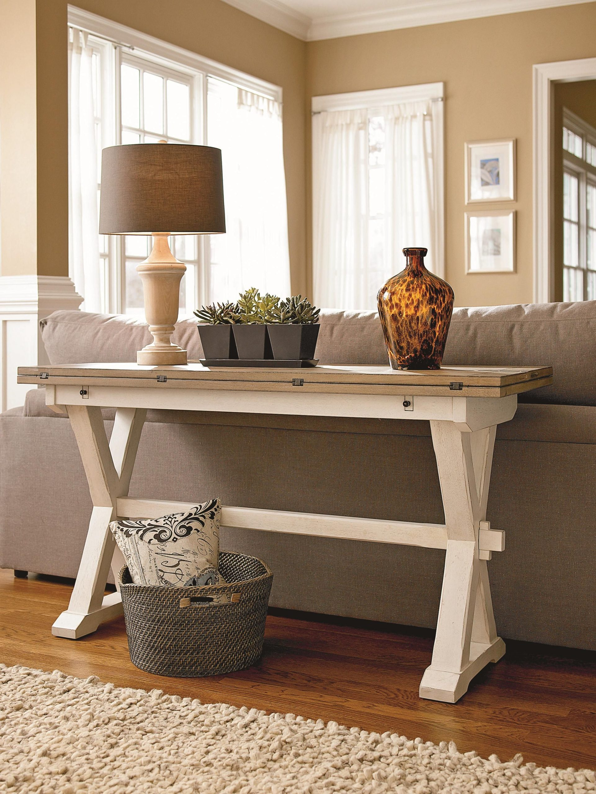 Console Table Extensible Étonnant Curated Drop Leaf Console Table with X Shaped Pedestals by