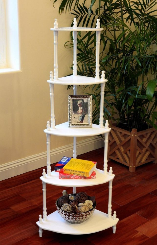 "New Traditional Decorative 5 Tier Corner Shelf 50"" White"